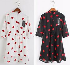 Hot New Sexy Red Lip Print Casual Loose Half Sleeve Chiffon Women Mini Dresses