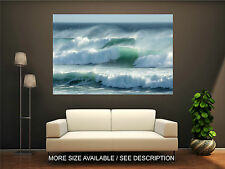 Wall Art Canvas Print Picture Blue Ocean Big Great Waves-Unframed