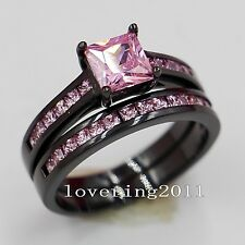Brand Jewelry Pink Sappire 10KT Black Gold Filled Wedding Ring Sets Sz 5-11 Gift