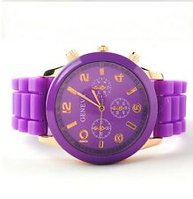 NEW Unisex Geneva Silicone Jelly Gel Quartz Analog Sports Wrist Watch purple