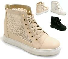 LADIES HI TOP SKATING TRAINERS CONCEALED WEDGE LACE MESH ANKLE BOOTS SHOES SIZE