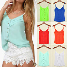 Fashion Summer Chiffon Blouse Casual Vest Tops Sleeveless Shirt HOT Pants Shorts