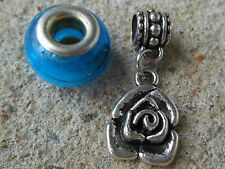 Rose European Charm fits charm bracelet silver pendant with bail bead