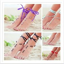 2PC Glass Beads Silk Ribbon Barefoot Sandals Anklet Chain Toe Wedding Jewelry