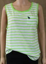 Abercrombie & Fitch Stephanie Tank Top Womens Green Striped Tee Shirt New NWT