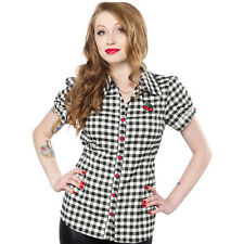Women's Sourpuss Cherry Gingham Top Black and White Retro Vintage Rockabilly