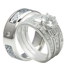 4PCS His And Hers Tungsten 925 Sterling Silver Wedding Bridal Matching Ring Set