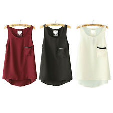 Hot Women Solid Sheer Chiffon Pocket Sleeveless Vest Tank Tops Blouse Shirt M12