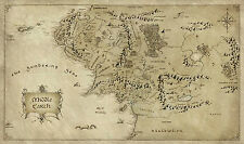 Map of Middle Earth Lord Of The Rings Vintage Quality Poster for A0-A1-A2-A3-A4