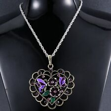 Fashion Love Heart Hollow Cicle Necklace Pendant Leather Jewlry Party Women Gift