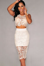White Floral Lace Skirt Set