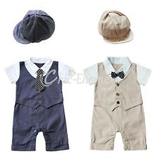 Baby Boy Wedding Formal Tuxedo Suit Gentleman Romper Outfit+HAT Set 6-18 NEWBORN