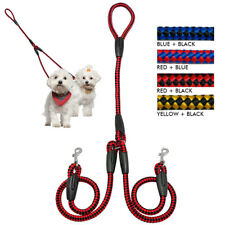 2-Way Braided Nylon Rope Coupler Dog Leash Lead For Walking Dogs
