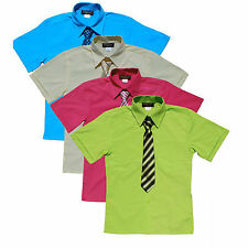 BOYS RECITAL, SUMMER SHORT SLEEVE DRESS SHIRT WITH TIE, SIZE:4 to14