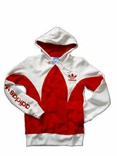 Adidas Hoodie Mens Red White XS L Sweatshirt Trefoil Hoody Hooded