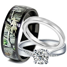 His and Hers Titanium Camo 925 SILVER Engagement Black Wedding Rings Set