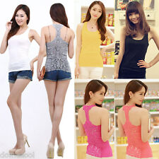 Sexy Women's Crochet Pierced Lace Back Sleeveless Tank Top Vest Cami Hollow-out