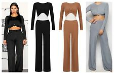 Women Ladies Sexy Celeb Kim Inspired Twisted Crop Top & Palazzo Trouser Set 8-14