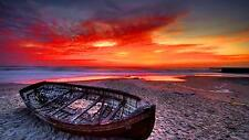 Boat Sunset Home Decor Canvas Print, choose your size.