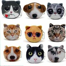 Cute Adorable Cat/dog Face Zipper Case Coin Kids Purse Wallet Gift Convenient
