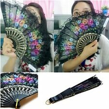 Spanish Flower Floral Fabric Lace Folding Hand Dancing Wedding Party Decor Fan