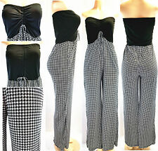 New Sexy Women Houndstooth Jumpsuit Strapless Romper Clubwear Summer Party Dress