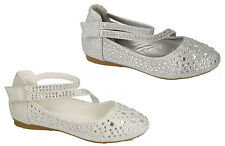 Infant Girls Low Wedge Heel Wedding Dress Diamante Bar Velcro Shoes Size 10-2