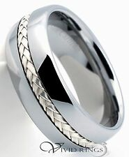 Men's Dome Tungsten Carbide Wedding Band 925 Silver Inlay Ring 8mm 7.5 to 14.5