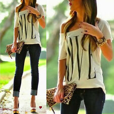 Women Sexy Casual Short Sleeve One Shoulder Tops Shirt Blouse Size S M L XL