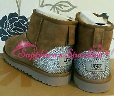 Adults Customised Crystal Bling Mini Chestnut Beige Ugg Boots Sizes 4 5 6 7 8