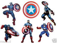 GREAT 6 CAPTAIN AMERICA FABRIC  T-SHIRT IRON ON TRANSFERS LIGHT AND DARK COLORS