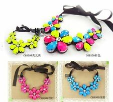 New Arrive Crystal Colorful Ribbon Chain Bib Collar Necklace Jewelry