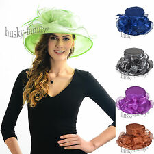 Ascot women's Kentucky derby church wedding dress hat satin organza feather hat
