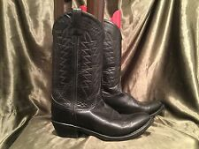 Mystery Black Leather Cowboy Western Boots 9 9.5