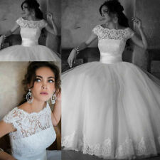 Stock 2015 New White/Ivory Lace Ball Gown Wedding dress Bridal gown UK Size 4-18