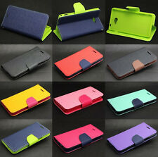 For Sony Xperia Phone Dual Color Deluxe Wallet Leather Flip TPU Stand Case Cover