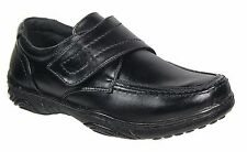 Mens Smart Uns Black Leather Lined Velcro Casual Shoes Sizes 7 8 9 10 11 12