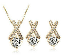 18K Gold Plated Austrian Crystal Women Cross Necklace Jewelry Sets In 2 Colors