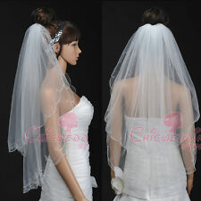 White/Ivory 3 Tiers Elbow Length Embroidered Voile Wedding Bridal Veil with Comb
