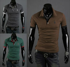 New Mens Stylish Casual Slim Fit Short Sleeve Polo Shirt T-shirts Tee Shirt dfs