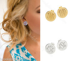 MONOGRAM POST EARRINGS STERLING SILVER PLATE or GOLD PLATE, BRIDESMAID GIFT