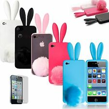Bunny Rabbit Case Cover W/ Tail for iPhone 4 4G + Screen Protector & Cloth