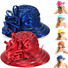 Chic Kentucky wedding church derby hat satin feather floral formal DRESS hat