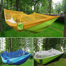 Portable Outdoor Swing Fabric Camping Hanging Hammock Mosquito Net Parachute Bed