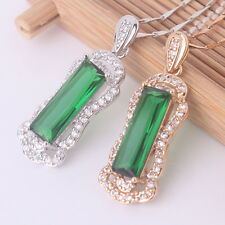Vintage style Pendant 18k gold/white gold filled Artistic emerald necklace