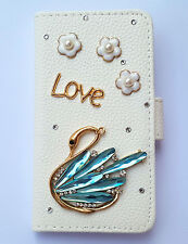 Luxury Beautiful Swan Flip PU leather card wallet Pouch case cover For Samsung 1