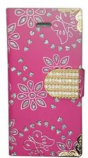 NEW Diamond Bling Leather Book Stand Wallet Case Cover For Various Mobile Phones