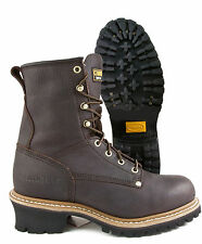 CAROLINA BROWN LEATHER STEEL TOE TRADITIONAL SLIP RESISTANT LOGGER BOOT CA1821