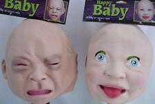 Adult Crying Happy Baby Face Latex Mask Costume Accessory Prop Adult Blue Eyes