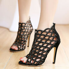 Retro Womens Sexy Ankle Boots Summer Suede Sandals Ladies High Heel Pumps US 4-8